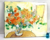 """Yellow Abstract Floral Painting Original on Small Canvas """"Sunny Bouquet in Vase"""""""