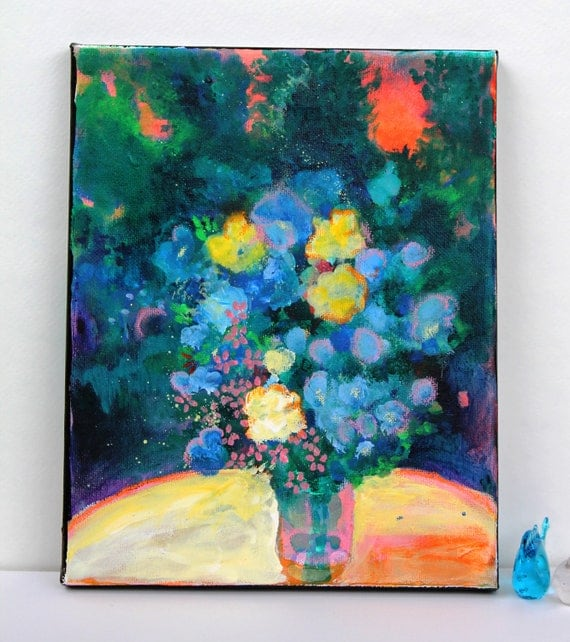 "Abstract Floral Still Life Acrylic Painting on Small Canvas ""Summer Evening in the Garden"""