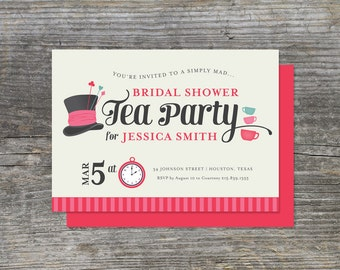 Tea Party, Mad Hatter Bridal Shower or Birthday Invitation (15)