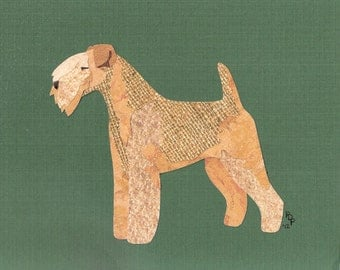 Lakeland Terrier handmade original cut paper collage dog art all colors available