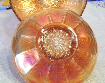 ON SALE Pair of Fenton Carnival Glass 6 Inch Plates, Marigold, Peacock Tail