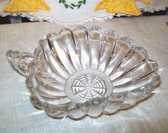 Vintage Heisey Crystolite Handle Tricorn Jelly Bowl