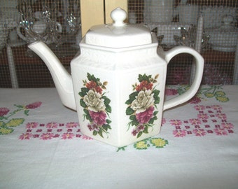 Vintage Floral Teapot, Arthur Wood Hexagonal, Number 5865
