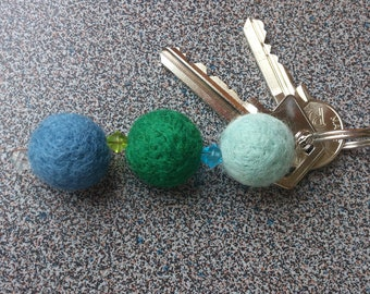 Keyring with 3 needle felted balls in green, blue and light blue gift under 10 dollars eco friendly