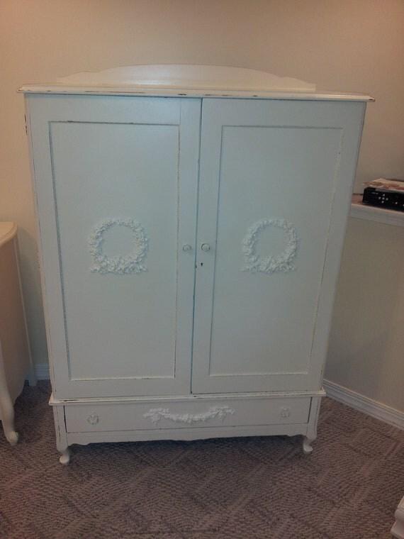 Shabby Chic Distressed Vintage Wardrobe Armoire Dresser
