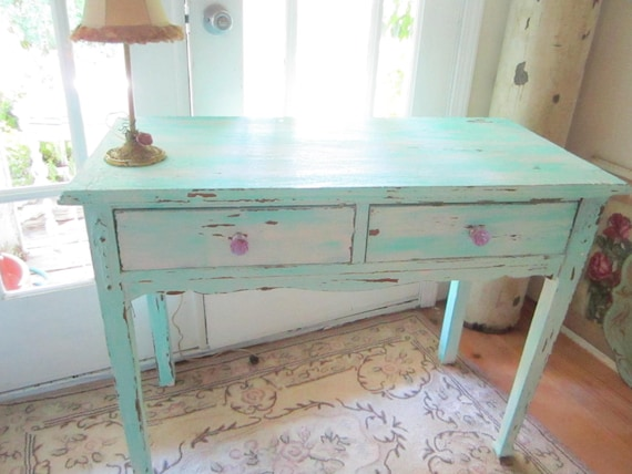RESERVED Chloe vintage farm table with drawers chippy painted light aqua and pale pink shabby chic prairie cottage chic
