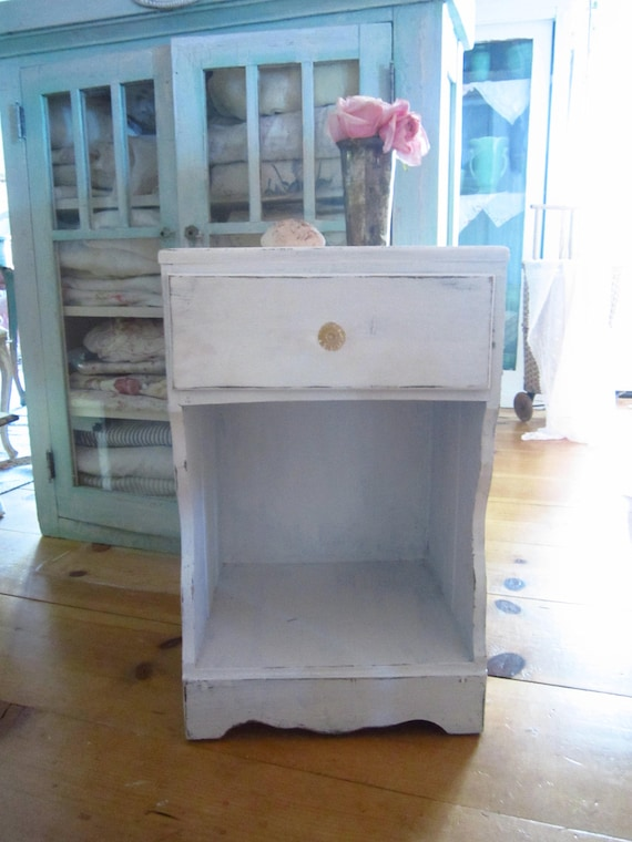 SALE Vintage chippy painted white cabinet  drawer  shelves shabby chic cottage prairie