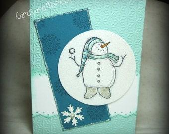 Snowman Glitter Christmas Card - Christmas Note Card - Holiday Card