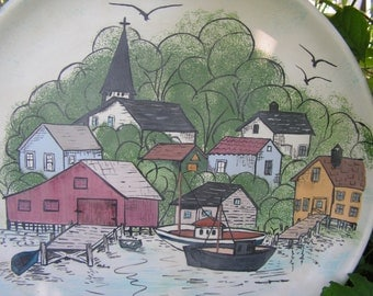 """60s 70s New England Seafood Platter Ceramic Seaside Town 14 1/2"""" Round"""