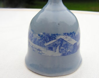 """50s Porcelain """"Silent Night"""" Bell with Winter Snow Scene on Blue"""