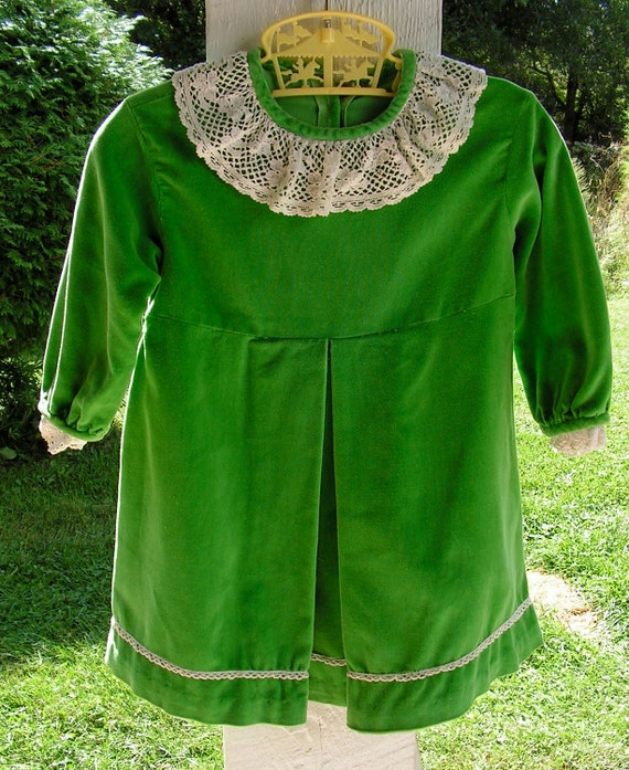 50s Kelly Green Cotton Velvet Dress with White Cotton Lace 2T to 3T