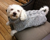 CUSTOM LISTING Gray Marble Cable Dog Sweater for Beau