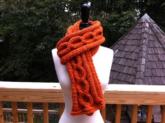Pumpkin Cable Scarf Hand Knitted
