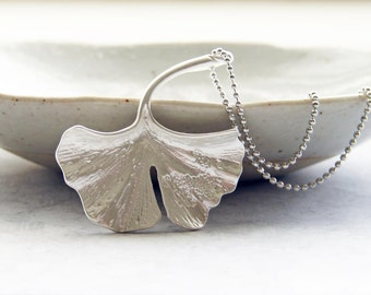 Matte Silver Colored Ginkgo Leaf Necklace. Fall Jewelry. Bridesmaid Gift. Simple Modern Jewelry by Smallbluethings