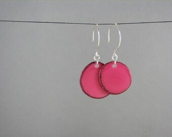 HOT Pink Tagua Earrings eco valentines day jewelry for women
