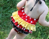 Red Polka Dot Minnie Mouse Inspired Ruffled Sunsuit Bubble Romper Red, Yellow, and Black Polka Dot Made To Order 0-3 months to 4T