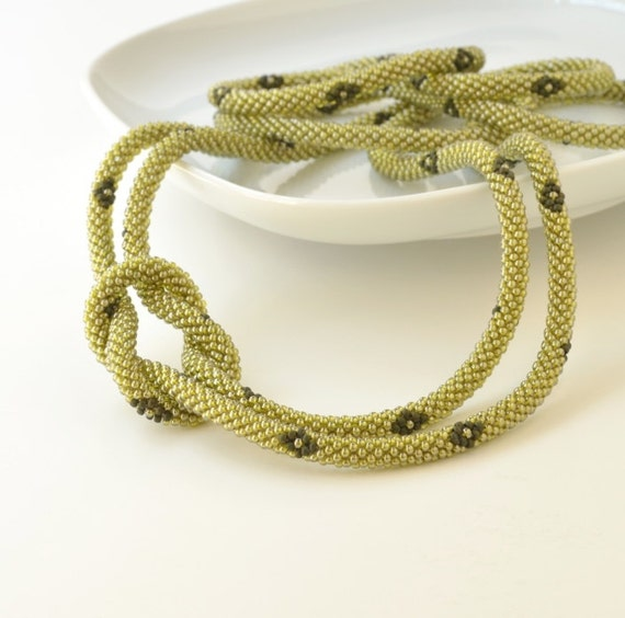 Green Beaded Rope, Long Beaded Necklace, Layered Necklace, Infinity Beaded Necklace
