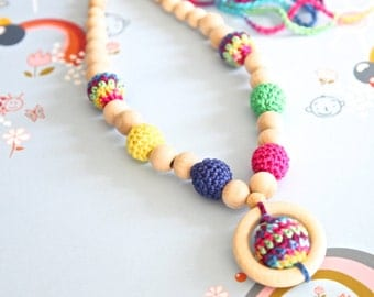 Bright multicolor nursing necklace. Mom and baby teething necklace. Girls crochet necklace.