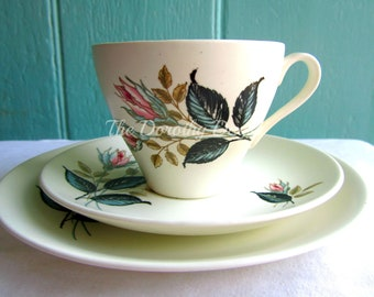 Mint and pink rose teacup saucer - English tea set UK