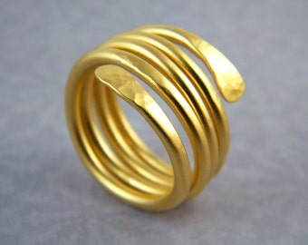 Gold wire wrapped ring snake gold ring gold handmade ring