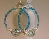 Blue Black Glass and Acrylic Hoop Earrings