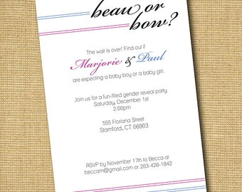 Beau or Bow: Printable Gender Reveal Party Invitation