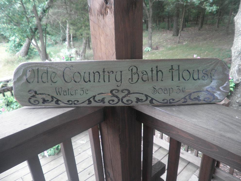 Sign Primitive Rustic Bathroom Sign Green By