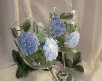 Blue Hydrangeas pair of wine glasses hand painted