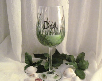 Gift for men wine glass cattails and beach grass painted