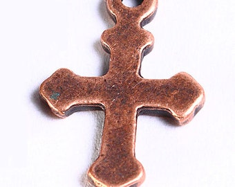 10 cross charm pendant antique copper 19mm x 12mm 10pcs (718) - Flat rate shipping