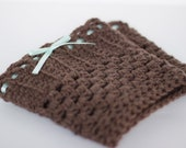 Boot Cuffs- Brown Crochet with Ribbon