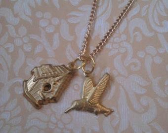 Hummingbird and Birdhouse Necklace