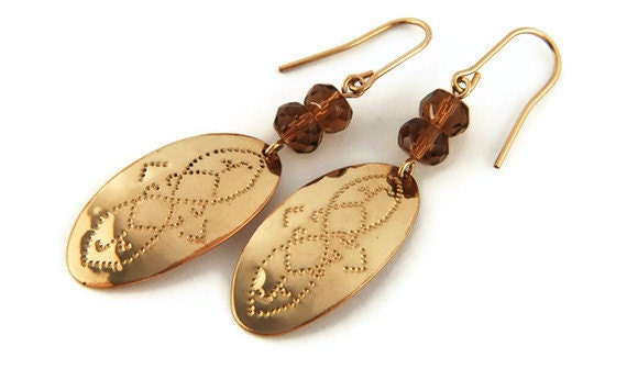 Gold Earrings - Hammered Earrings - Amber - Gold - Artisan Jewelry - Handmade Jewelry - For Her - Date Night - Romance - Christmas Gifts
