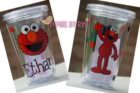 16 oz Personalized Acrylic Tumbler - Kids Elmo - Travel Cup - Double Walled BPA Free - Reusable, Customize