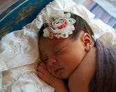 Vintage Red Floral Shabby Headband - The Victoria Flower Headband - Photo Prop Baby Toddler Child Girls Headband