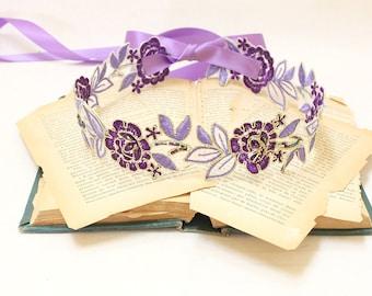Purple and Lavender  Embroidery Flower Lace Sash // Bridal Sash, Headband , Head Tie SH-77