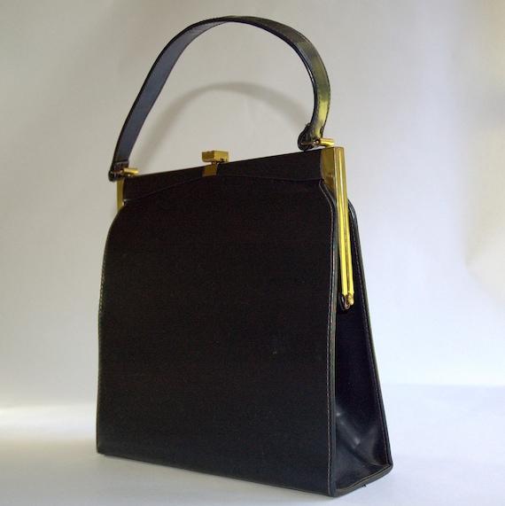 Vintage Leather Handbag -  Black Leather Kelly Bag - Mad Men