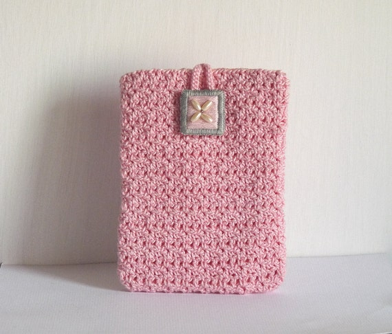 Pink and grey cotton crochet cell phone case/ iphone case