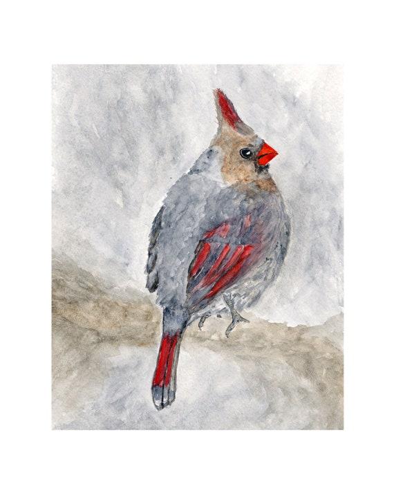 Watercolor cardinal painting, Christmas bird art, bird print, woodland art, watercolor bird painting,  - 8X10