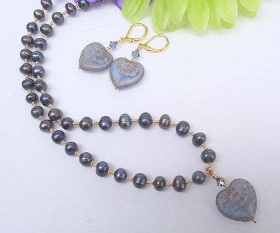 Freshwater Pearl Necklace Vintage Sapphire Heart and Earrings handmade Choker Blue Gold Vintage Style