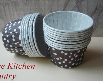 Brown Polka Dot Cupcake Liners - Baking Cups - Nut or Candy Cups (12) Portion Cups