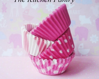 Pink Mini Cupcake Liners -  Pink  Mini Baking Cups - Cake Pops (120)