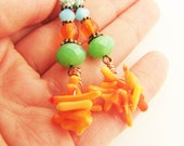 Orange coral  long  earrings. Bright summer trend
