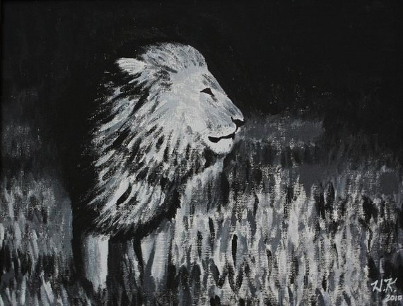Black and White Lion--original acrylic on canvas board