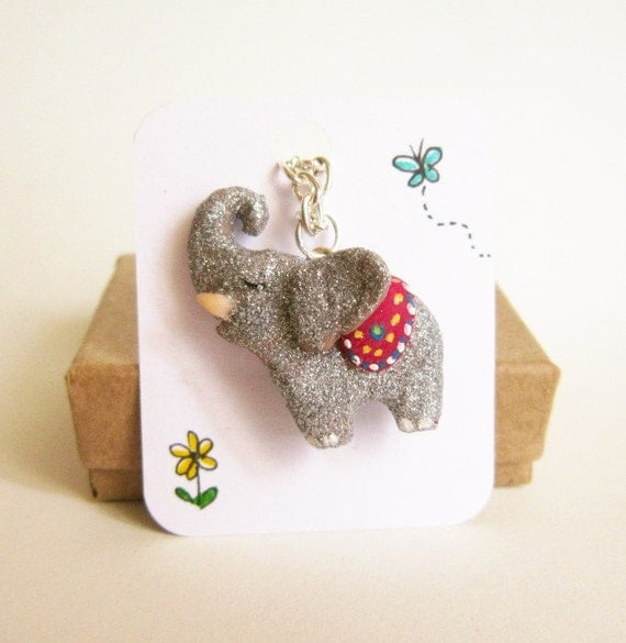 Elephant necklace, Silver Glitter, polymer clay elephant totem
