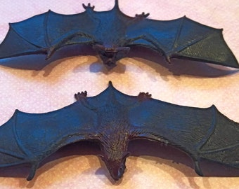 2 miniature rubber toy bats / altered art supply / Poe / Halloween / Craft supplies / Mixed media / black bats / animals / assemblage