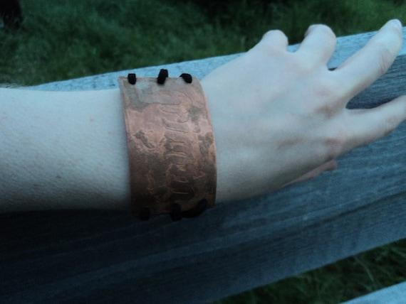 Grimm- Copper wrist cuff- Laced