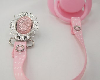 Sparkly Pink Ribbon Pacifier Clip (RSP)