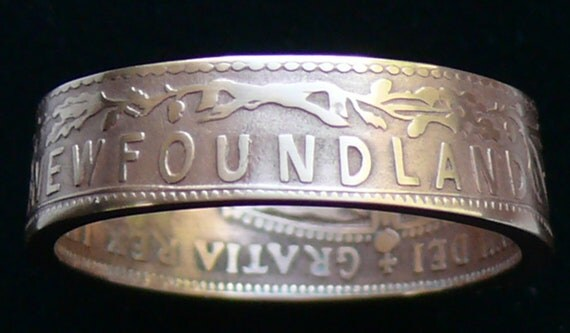 Bronze Coin Ring 1907 Newfoundland 1 Cent - Ring Size 9 3/4 and Double Sided