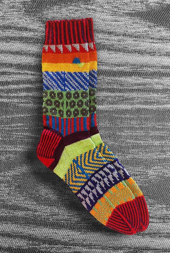 Socks - Hand knit - Wool- Unique Icelandic Design - Multi color - Original design - Washable wool socks. 2.9  -   FREE US SHIPPING